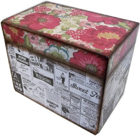 Recipe Box, Decoupaged, Handcrafted Box, Owls & Other Designs, Kitchen Storage Organization, Wedding Box, Bridal Shower MADE TO ORDER