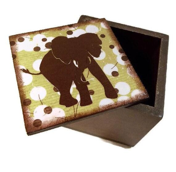 Keepsake Box Trinket Box Treasure  Box  READY TO SHIP  Medium Elephant Jewelry Box