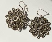 Vintage Beautifully Detailed Brass Round Filigree Earrings
