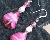 Vintage Pink and White Glass Bead Earrings