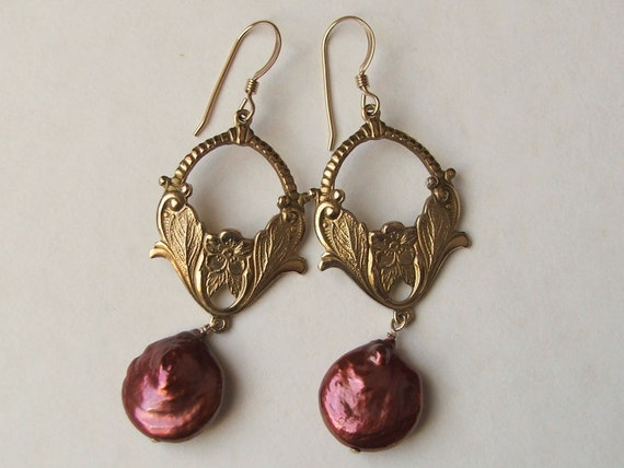 Vintage Brass Drop Earrings with Warm Red Coin Pearls