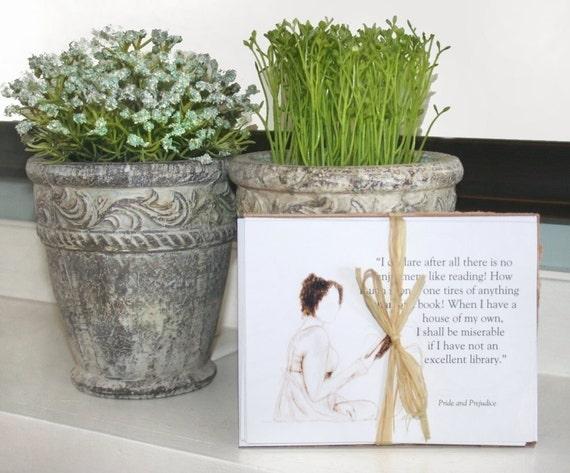 Jane Austen Notecards . Card Set of 5  .  featuring prints of my original drawings