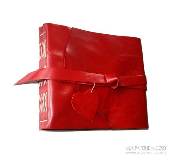 "Leather Journal / Sketchbook / Wedding Guestbook . large 8.5""x7.25"" . rich red . handmade handbound (320pgs)"