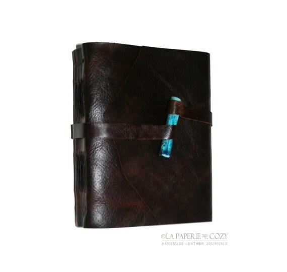 Leather Journal . Handmade  Handbound . dark brown with handmade ceramic turquoise peg (320 pgs)