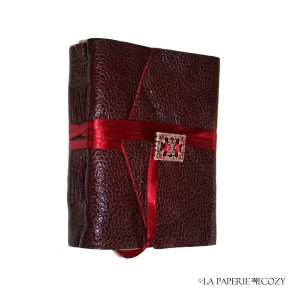 "Leather Journal - ""The Lady of Shalott"" Alfred Lord Tennyson . handmade handbound . burgundy  (320 pgs)"