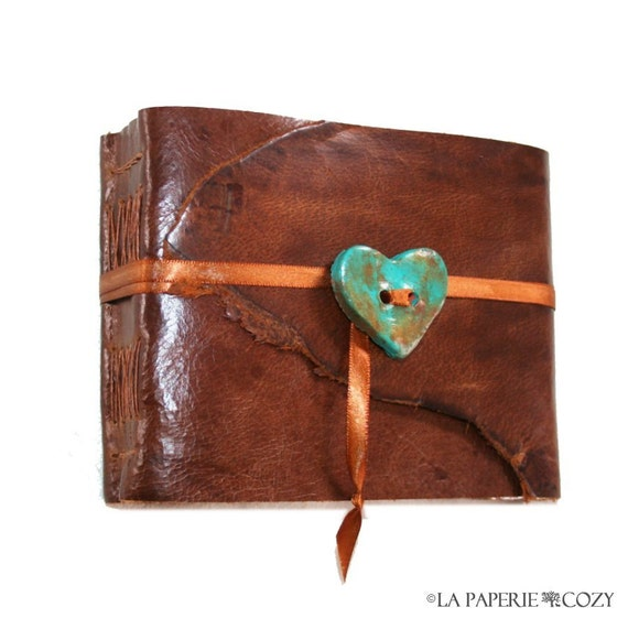 "Leather Journal / Sketchbook / Guestbook - ""My Rusty Little Heart"" . small & chunky . handmade handbound (290pgs)"