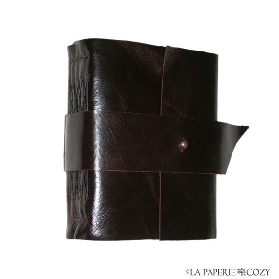 """Leather Journal . """"Do not go where the path may lead"""" - Ralph Waldo Emerson quote . handmade handbound (280 pgs)"""