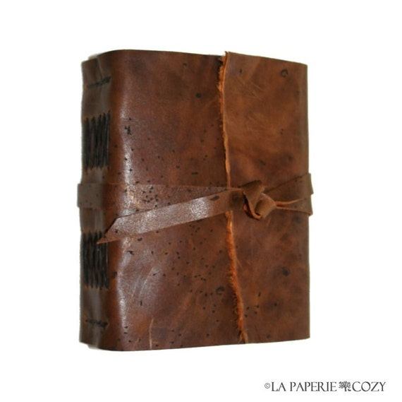 "Leather Journal . George Orwell quote ""Good writing is like a window pane"" . handmade handbound . ruddy brown  (320pgs)"