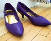 Vintage GLAMOUR EXPRESS Purple Pumps VEGAN with Pink Stitched EIGHTIES APPLIQUE