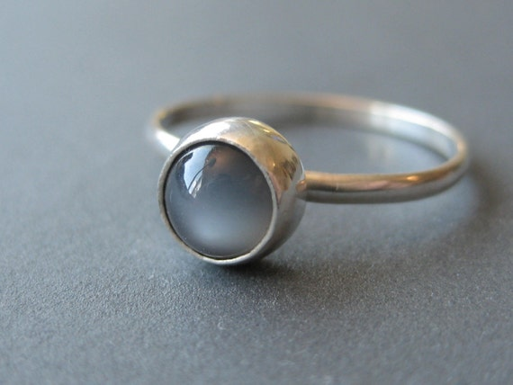 Lone Grey Moonstone Stackable--Made to Order in Your Size