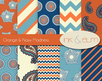 Digital Paper Orange and Navy Blue, Modern Digital Paper, Modern Backgrounds, Printable Papers, Chevron Zig Zag, Stripes, Paisley Paper Pack
