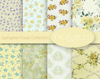 Shabby Chic Floral Digital Paper, Vintage Floral and Rose Paper, Floral and Rose Backgrounds, Printable Rose Papers, Springtime Florals
