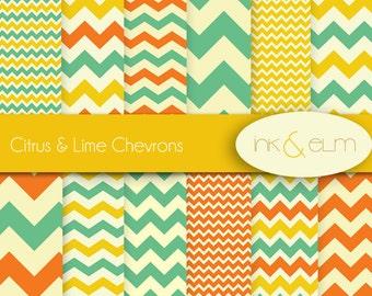 chevrons digital paper,  chevron scrapbook paper, orange green yellow chevrons, zig zag paper, zig zag chevron backgrounds, printable papers