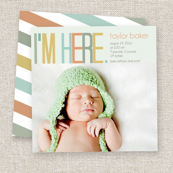 birth announcement baby boy or baby girl card modern photo