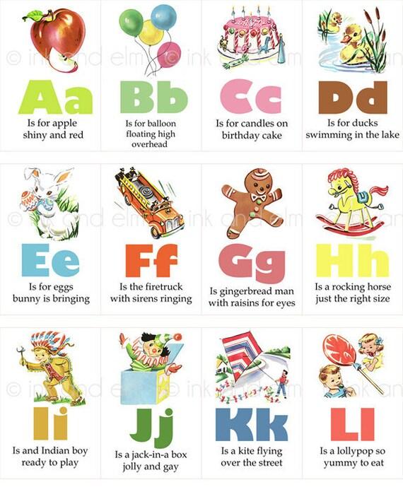 Vintage Alphabet Flashcards, Vintage Children's Alphabet Digital Images Collage Sheet, Vintage Alphabet Graphics, Vintage Alphabet Clip Art