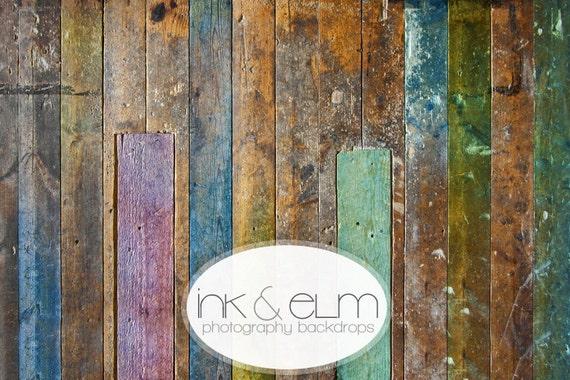 "Photography Vinyl Backdrop 4ft x 3ft, Photo Backdrop, Wood Floor drop, Photo backdrop, Distressed Colorful Vintage Wood, ""Julius"""