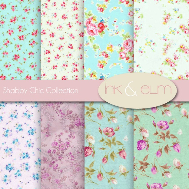 Shabby Chic Rose Digital Paper Vintage Floral and by InkAndElm