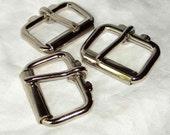Roller Buckles 1.5 Inch Nickel Plated Metal Pack of 2