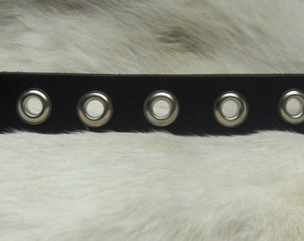 Black Leather Wristband with Grommets