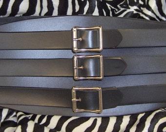 Black Leather Waist Cincher Custom Order Hand Made Leather Belt