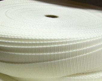 White 1 Inch Heavy Duty Polypro Webbing 5 Yards