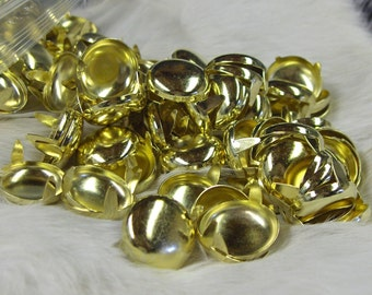 Round Spots 3/4 Inch Brass Plated Pk of 100 Nailheads
