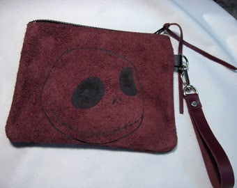 Jack Skellington Skull Face on Burgandy Color Purse 6.5  x 6.25  inches