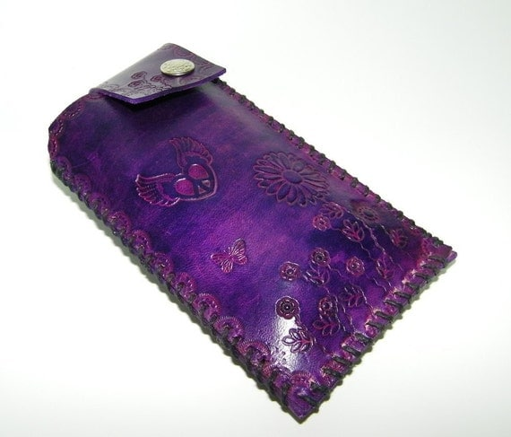 Purple Leather Case Hand Tooled Stamped
