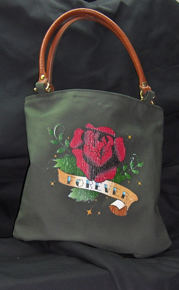Green Canvas Tote Handmade with Upcycled Leather Handles  with Forever Roses Decal