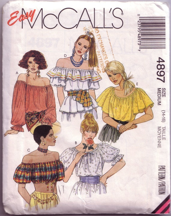McCalls 4897 - 1990 Peasant Blouse w/ 2 Bodice and Sleeve Lengths Pattern