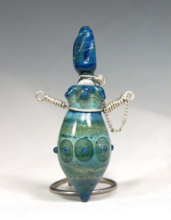 Atlantis perfume vessel pendant Made by Fyrsmith in Alaska lampwork boro glass