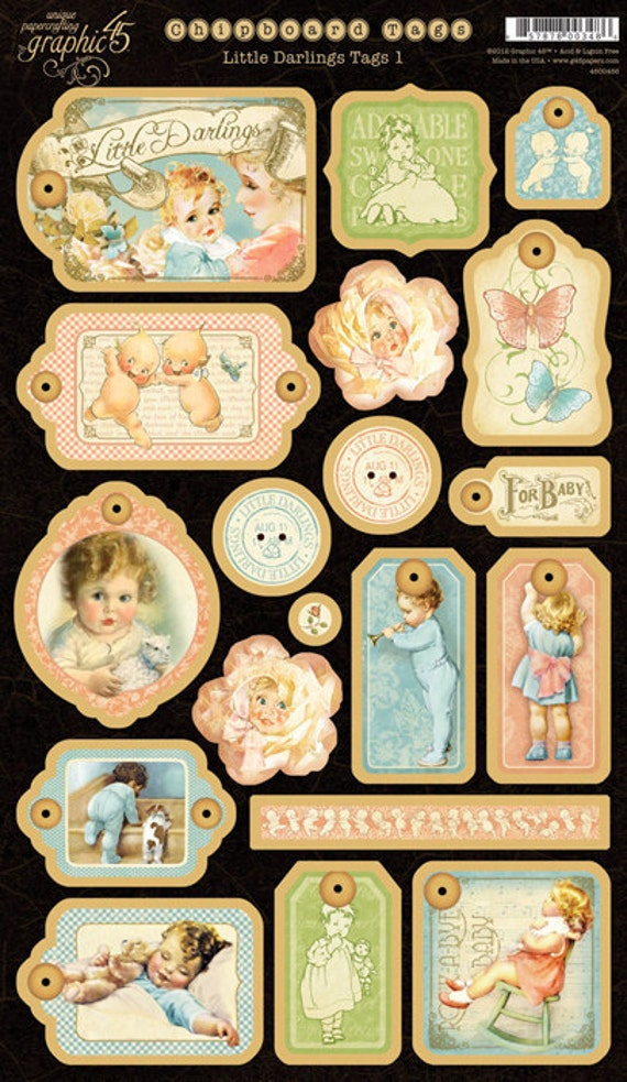 Graphic 45 Little Darlings Chipboard Tags no.1 - 25% Discount (for a limited time)