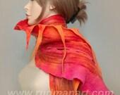 Wool Silk Felted Art long scarf Chinese dragon