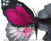 RESERVED for legionzhao1 Wool Silk Art Felted Eco Organic Natural nunofelting Butterfly scarf (butterfly-brooch)