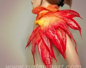 RESERVED Wool Silk Felted Art scarf hand dyed and painted Fire Light