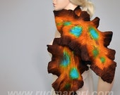 REDUCED Felted Scarf Wool Silk Art scarf nunofelting Brown Chocolate Gold Turquoise Rust
