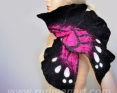 SPRING SALE 20% discount Felted scarf Wool Silk Monarch butterfly organic natural eco materials Black Dark Gray Crimson Magenta Bright Pink