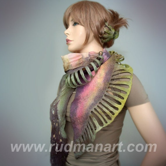 Wool Silk Felted Art hand dyed and painted long scarf Salad