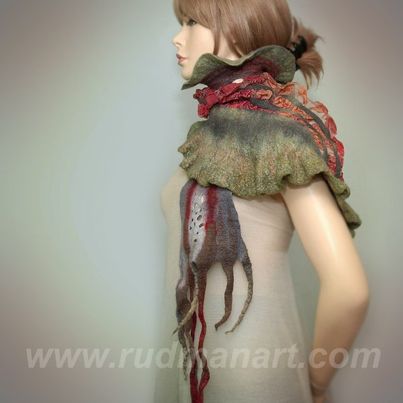 Wool Silk Felted Art long scarf Killer Toad