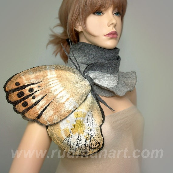 Wool Silk Art Felted Eco Organic Natural nunofelting Butterfly scarf (butterfly-brooch)