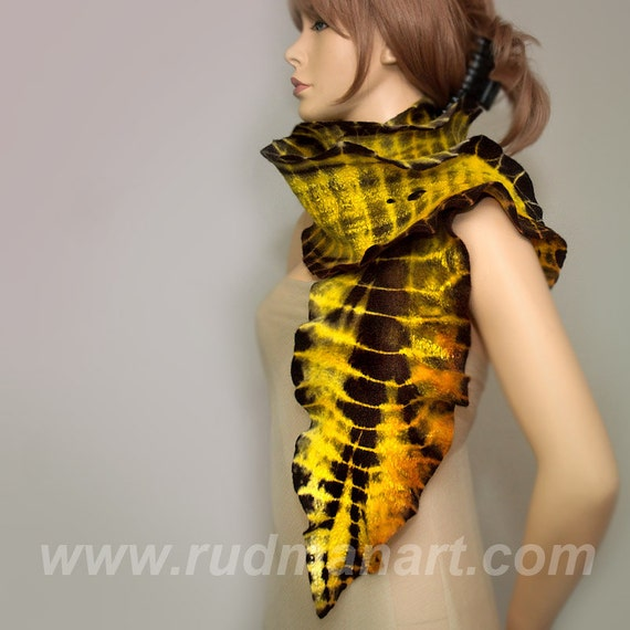 REDUCED Wool Silk Felted Art hand dyed scarf Yellow Gold Black