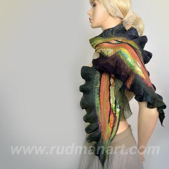 REDUCED Felted Scarf Wool Silk Art scarf nunofelting Green Burgundy Rust Forest Woodland