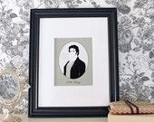 Pride and Prejudice Mr. Darcy Cameo Jane Austen Regency Portrait with Quote Print