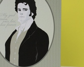 Pride and Prejudice Mr. Darcy Cameo Portrait Note Card Set of 8 with Matching Recycled Envelopes