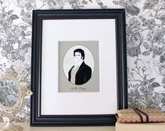 Mr. Darcy Cameo 8x10 Portrait Print with Quote Printed on Matte Epson Photo Paper