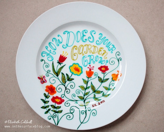ooak hand drawn small ceramic plate with fanciful by ecdesign & What Type Of Paint To Use On Ceramic Plates   Home Design