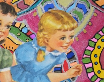 Vintage Illustration of two curious little girls ACEO Collage