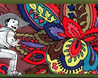 Little Cowboy is just passing through this Flower Power Town ACEO Collage