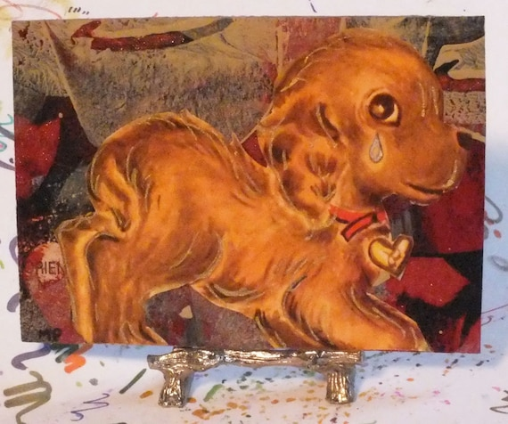Sad Little Puppy Collage with Modern Art and Vintage Illustration ACEO