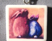 Two Bunnies Love Pendant Necklace - Featured artist Victoria Fox - suchprettycolors